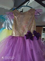 Выпускное нарядное праздничное платье пайетка для девочки 98-140р