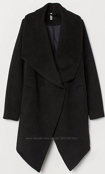 Двубортное асимметричное пальто h&m чёрного цвета