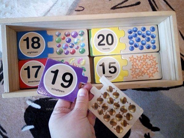 Melissa & Doug счет деревянные таблички цифры на английском от 1 до 20