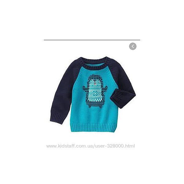 Вязаный теплый свитер с пингвином  Gymboree сша 3Т