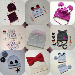 Шапочки, комплекты на все сезоны для деток и взрослых. Индивидуальный пошив