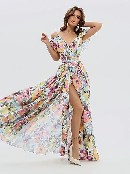Шикарное платье на запах с акварельным принтом
