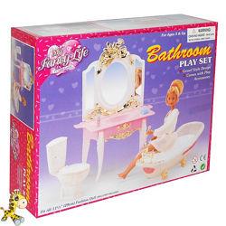 Мебель для кукол Gloria Глория 2316 Ванная комната ванна зеркало унитаз