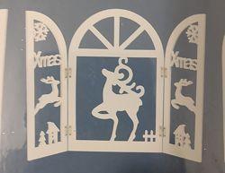 Новорічний декор Вікно з оленями Голландія