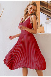 Літнє жіноче плаття пліссе на бретелях бордо, чорне розміри S-M-L-XL