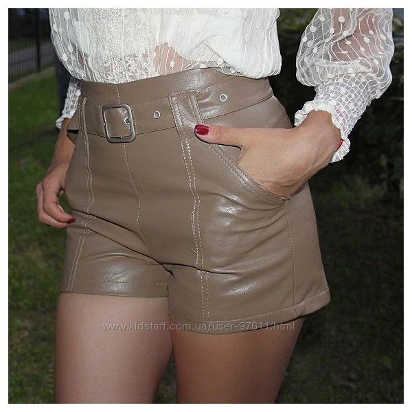 Модні жіночі шорти з екошкіри на підкладці осінь зима весна розміри S M L