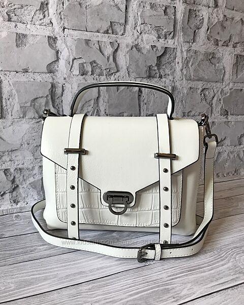Кожаная сумка в 3 цветах- черный, белый, пудра