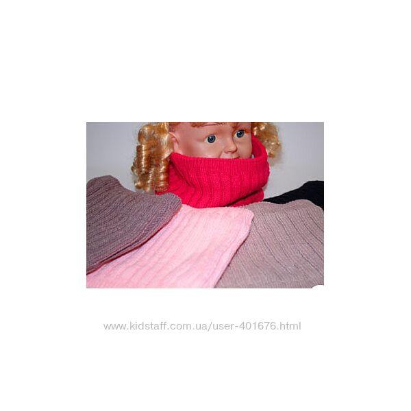 Детский, зимний, вязанный снуд на флисе для девочки