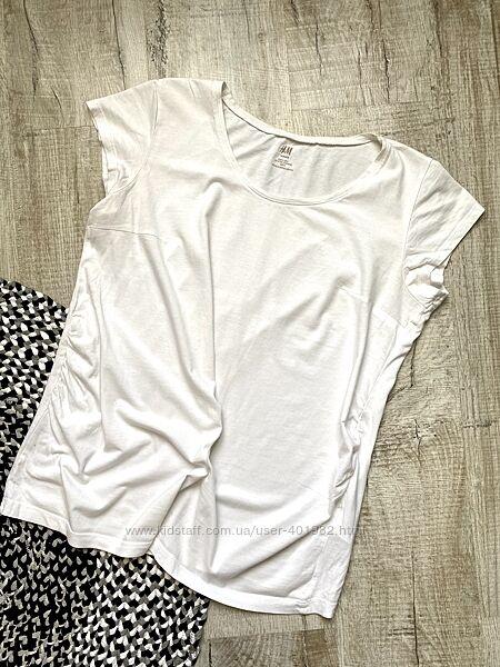 Белая хлопковая футболка для беременных. h&m mama. р. l. наш 48-50