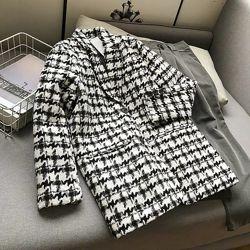 Пиджак пальто с узором гусиная лапка