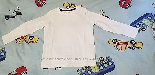 Белый реглан, футболка с длинным рукавом