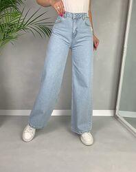 Мом джинсы трубы палаццо широкие на высокой посадке wide leg.