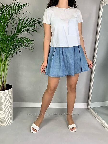 Костюм джинсовая юбка солнце и топ