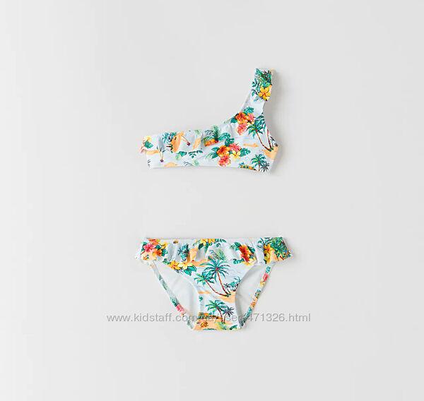 красивенный раздельный купальник Зара Тропики 164 рост 13-14 лет