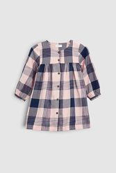 Next нежное платье-рубашка в клетку 6-9 мес