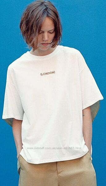 Хлопковая футболка с оригинальной спинкой- тренд zara-оригинал