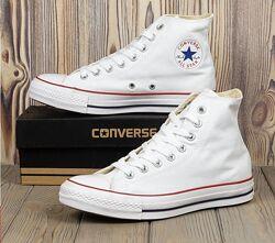 Кеды высокие белые Converse Chuck Taylor All Star, размеры 35-46 Конверс