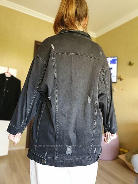 Джинсовая удлиненная куртка пиджак Турция  L