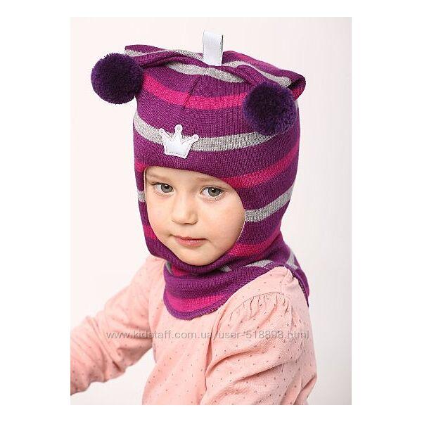 Beezy. Зимняя  шапка шлем для девочек. 100 шерсть.