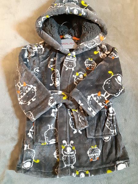 Флисовый тепленький халат Маталан на 12-18 мес рост 80-86 см