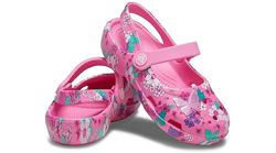 Розовые балетки кроксы crocs Kids Classic Glitter Charm Mary Jane J1, J2