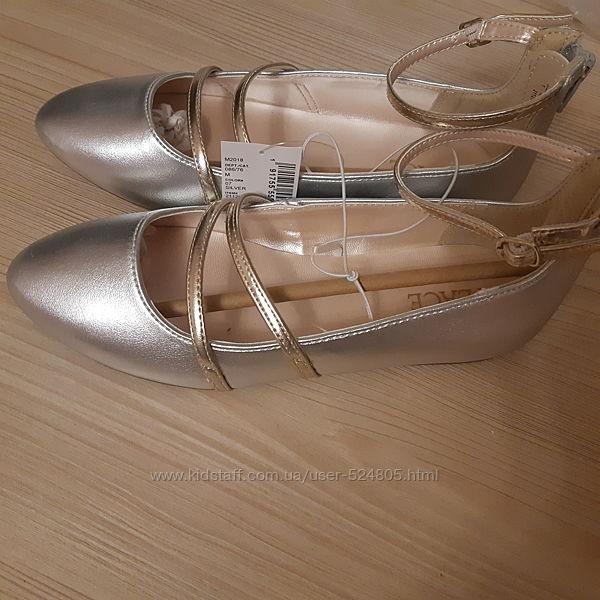Нарядные туфельки, цвет серебро-золото, Childrens place, стелька 21 см
