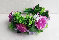 Ободок с цветами на широкой основе