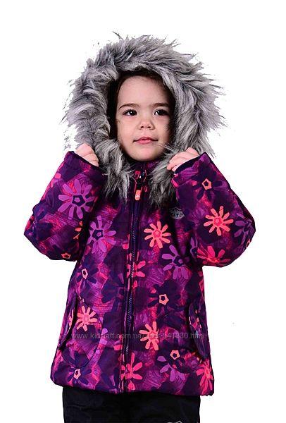 Зимняя лыжная термокуртка 134, 152р Цветы PIDILIDI фиолетовая