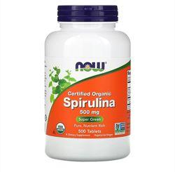 Now Foods, органическая спирулина, 500мг, 500таблеток
