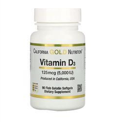 California Gold Nutrition, Витамин D 3, 125мкг 5000 МЕ, 90шт