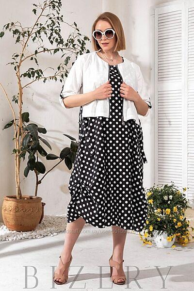 Женское льняное платье в горох с накидкой  В758-761