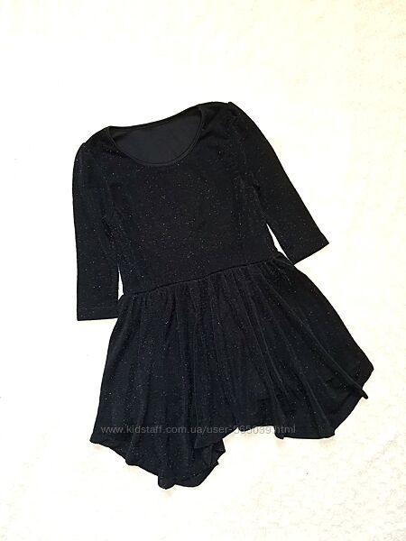 Young Dimension Стильное черное блестящее серебристое платье 6-8 лет