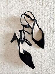 New Look Черные туфли слингбэки босоножки замша р.38