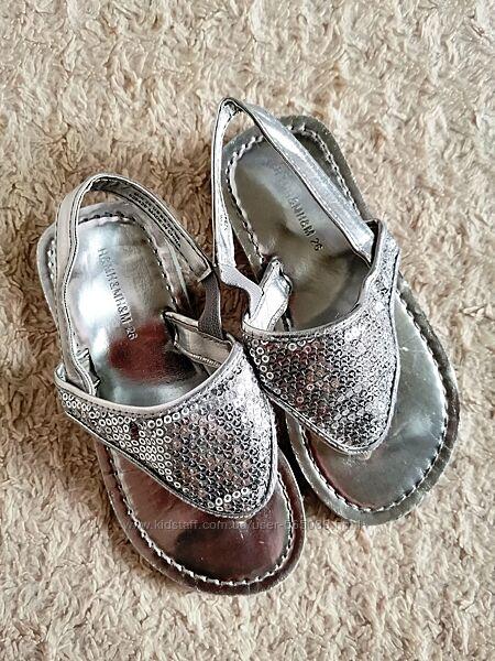 H&M Яркие серебристые босоножки балетки сандалии с паетками р. 26