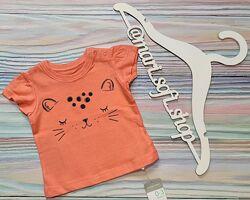 Оранжевая футболка от Primark с котиком р.0-3 мес