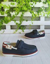 Туфли-мокасины кожаные школьные на мальчика синие 26-29р