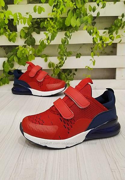 Кроссовки текстильные красные с синим 28 - 17.5 см
