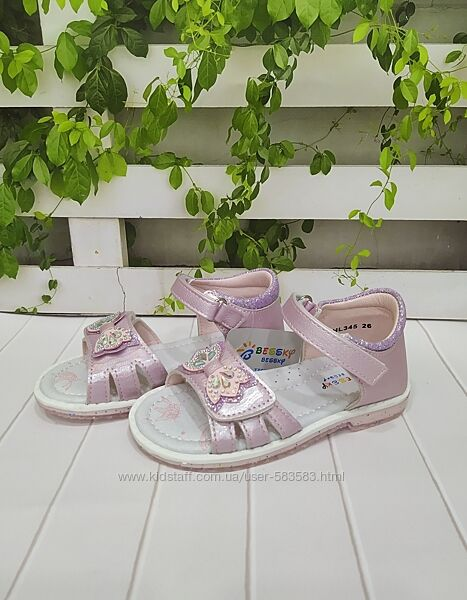 Нарядные босоножки розовые для девочки закрытая пятка 26 -31р