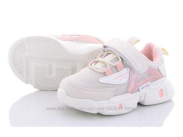 Текстильные кроссовки детские девочке легкие 22-27р белые с розовым