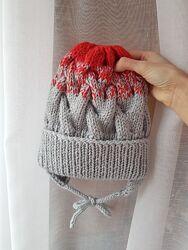 Распродажа теплые зимние вязаные шапочки на флисе ручной работы