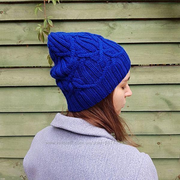 Вязаная шапка бини косами ручной работы меринос синий