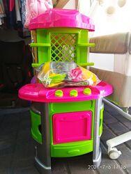 Кухня Набор игрушечной посуды из плиты, мойки с краном, полочками