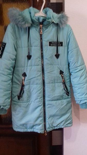тёплая куртка-пальто ментолового цвета фирмы Барбарис