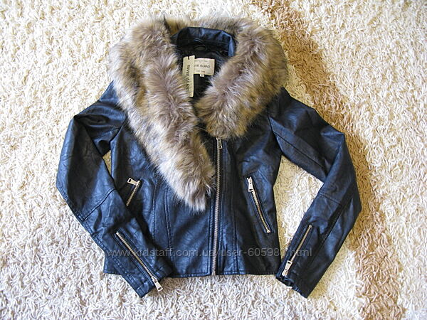 Кожаная куртка косуха river island размер 32  us 2 uk 6 xxs xs