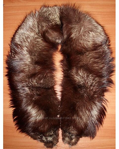 Воротник натуральный мех на подкладке длина 120 см