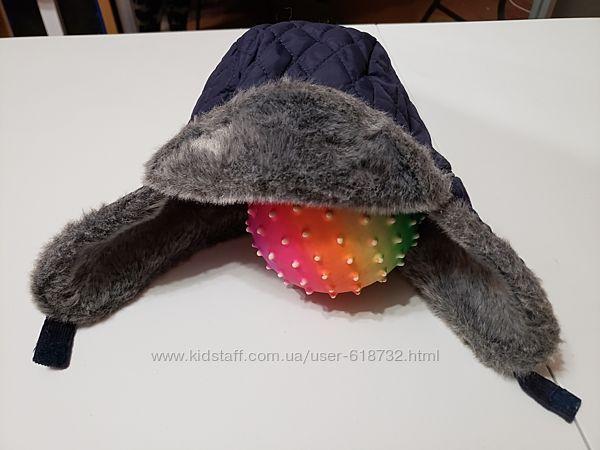 Тёплая зимняя шапка на мальчика 3-6 лет