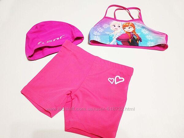 Купальный костюм, комплект купальник  шапочка на девочку 7-8 лет