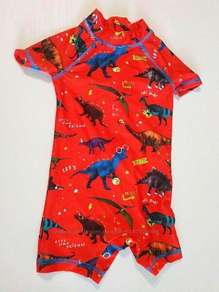 Фирменный новый купальный костюм с динозаврами, плавки  футболка на 9-12 м