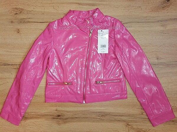 Розовая куртка-косуха из лаковой эко-кожи для девочки 6-7 лет 122 см