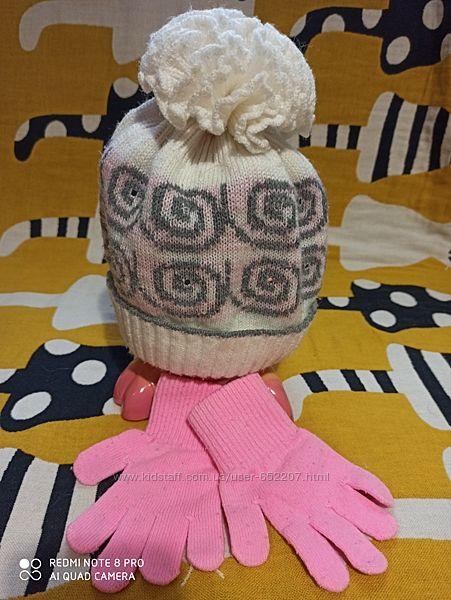 Детская шапка  и перчатки